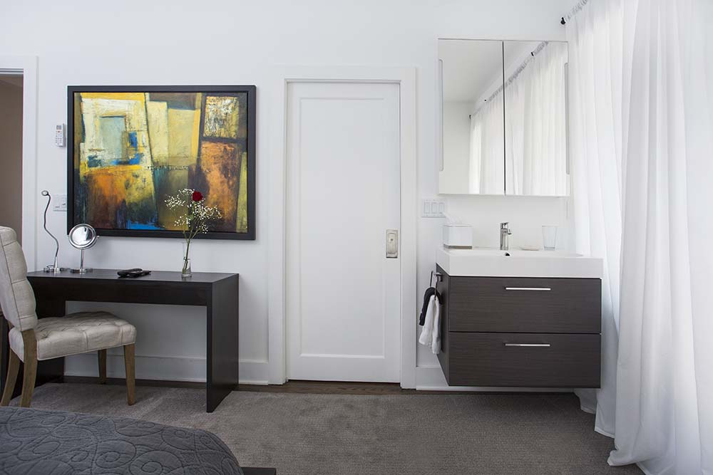 Vanity with mirror and desk