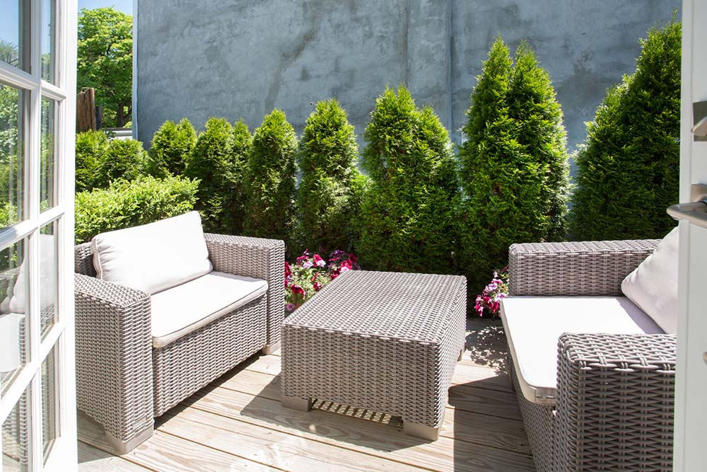 patio with wicker chairs