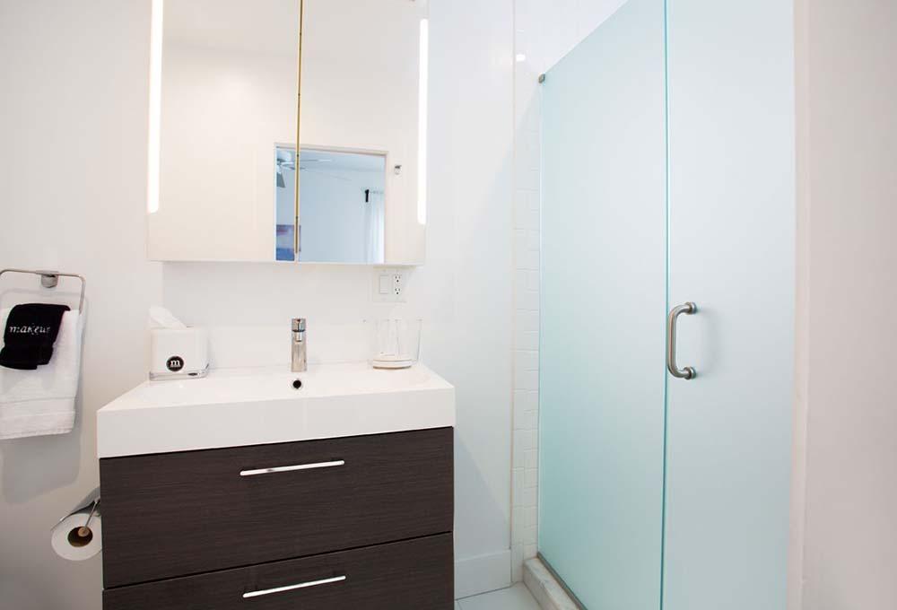 glass door shower and vanity